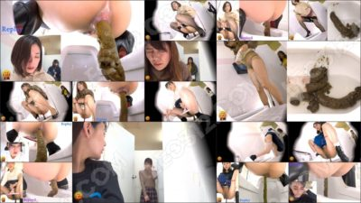 EE-367 [#1] | Public toilet voyeur: women continue pooping while the door is opened up!